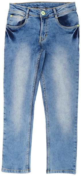 Pantaloons Junior Cotton Blend Solid Distressed For Boy Color Blue