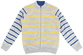 Pantaloons Junior Boy Acrylic Striped Sweater - Grey