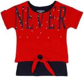 Pantaloons Junior Girl Cotton Printed T shirt - Red