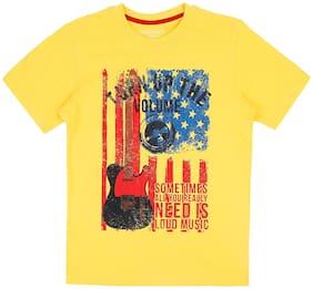 Pantaloons Junior Boy Cotton Printed T-shirt - Yellow