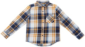 Pantaloons Junior Boy Cotton Checked Shirt Orange