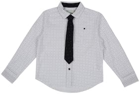 Pantaloons Junior Boy Cotton Polka dots Shirt White