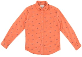 Pantaloons Junior Boy Cotton Printed Shirt Orange