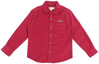 Pantaloons Junior Boy Cotton Solid Shirt Red