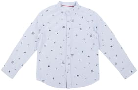 Pantaloons Junior Boy Cotton Printed Shirt Blue