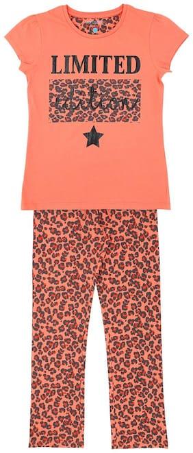 Pantaloons Junior Girl's Cotton Printed Top & pyjama set - Orange
