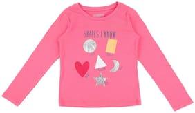 Pantaloons Junior Girl Cotton Printed T shirt - Pink