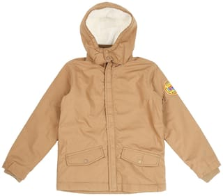 Pantaloons Junior Boy Poly cotton Solid Winter jacket - Beige
