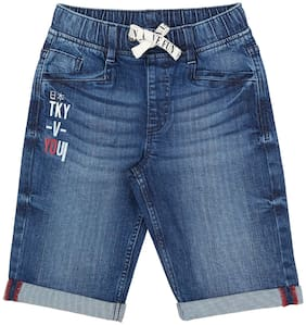 Pantaloons Junior Boy Solid Shorts & 3/4ths - Blue