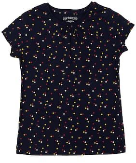 Pantaloons Junior Girl Cotton Polka dots T shirt - Blue