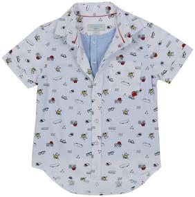 Pantaloons Junior Boy Cotton Printed Shirt White