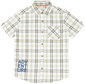 Pantaloons Junior Boy Cotton blend Checked Shirt Green