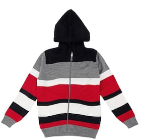Pantaloons Junior Boy Acrylic Striped Sweater - Red