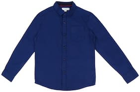 Pantaloons Junior Boy Cotton Solid Shirt Blue