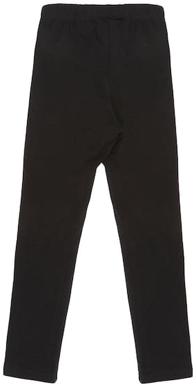 Pantaloons Junior Cotton Solid Leggings - Black