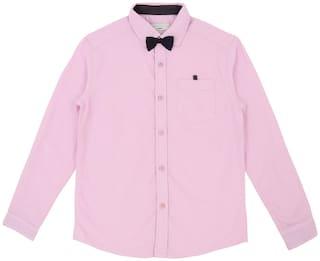 Pantaloons Junior Boy Cotton Solid Shirt Pink