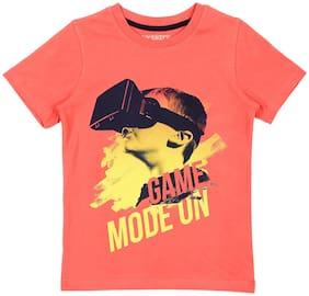 Pantaloons Junior Boy Cotton Printed T-shirt - Orange