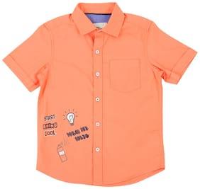 Pantaloons Junior Boy Cotton Printed Shirt Orange