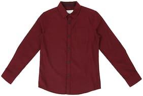 Pantaloons Junior Boy Cotton Polka dots Shirt Maroon