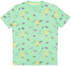 Pantaloons Junior Boy Cotton Printed T-shirt - Green