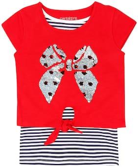 Pantaloons Junior Girl Cotton Striped T shirt - Red