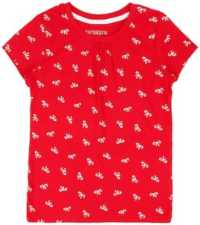 Pantaloons Junior Girl Cotton Printed T shirt - Red