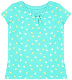 Pantaloons Junior Girl Cotton Printed T shirt - Green