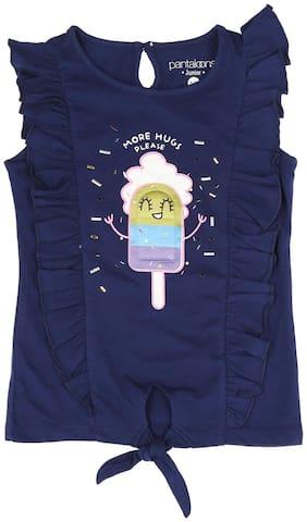 Pantaloons Junior Girl Cotton Printed T shirt - Blue