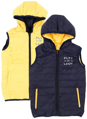 Pantaloons Junior Boy Polyester Printed Winter jacket - Yellow