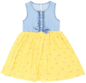 Pantaloons Junior Blue & Yellow Polyster Sleeveless Knee Length Princess Frock ( Pack of 1 )