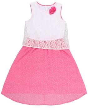 Pantaloons Junior White & Pink Georgette Short Sleeves Knee Length Princess Frock ( Pack of 1 )