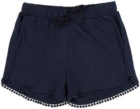 Pantaloons Junior Girl Cotton Solid Regular shorts - Blue