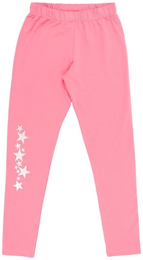 Pantaloons Junior Cotton blend Printed Leggings - Pink