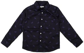 Pantaloons Junior Boy Cotton Printed Shirt Blue