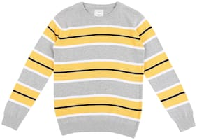 Pantaloons Junior Boy Acrylic Striped Sweater - Yellow & Grey