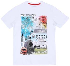 Pantaloons Junior Boy Cotton Printed T-shirt - White