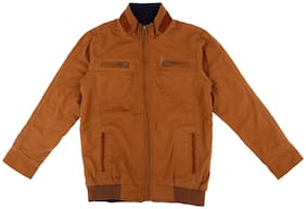 Pantaloons Junior Boy Cotton Solid Winter jacket - Brown
