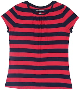 Pantaloons Junior Girl Cotton Striped T shirt - Pink