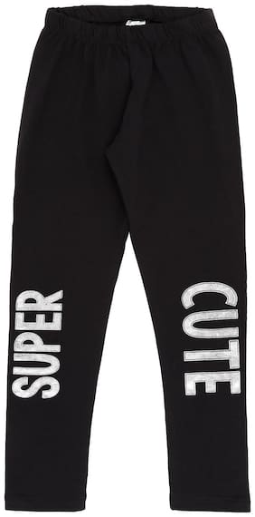 Pantaloons Junior Cotton Printed Leggings - Black