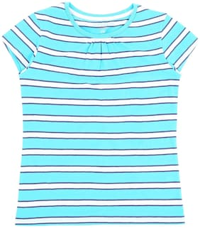 Pantaloons Junior Girl Cotton Striped T shirt - Blue