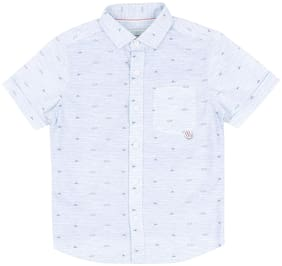 Pantaloons Junior Boy Cotton Printed Shirt White