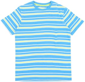 Pantaloons Junior Boy Cotton Striped T-shirt - Blue