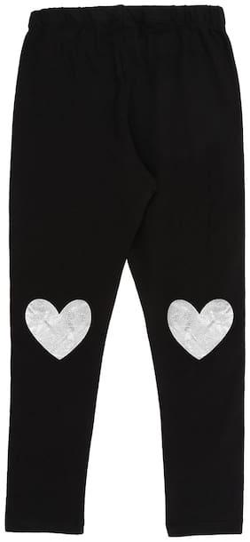 Pantaloons Junior Cotton Printed Leggings - Black