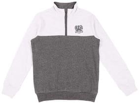 Pantaloons Junior Boy Cotton Solid Sweatshirt - Grey