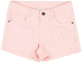 Pantaloons Junior Girl Cotton Solid Regular shorts - Pink