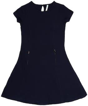 Pantaloons Junior Blue Cotton Short Sleeves Knee Length Princess Frock ( Pack of 1 )