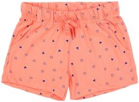 Pantaloons Junior Girl Cotton Printed Regular shorts - Pink