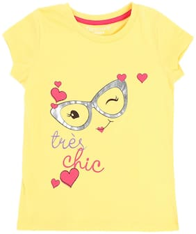 Pantaloons Junior Girl Cotton Printed T shirt - Yellow