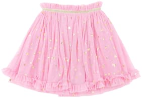 Pantaloons Junior Girl Polyester Solid Flared skirt - Pink