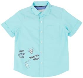 Pantaloons Junior Boy Cotton Printed Shirt Green